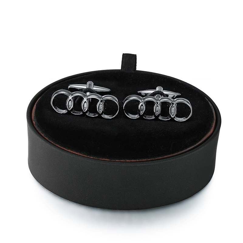 DY A set Deluxe brand Black circle Audi car logo Cufflinks black leather box men French shirt Cufflinks box set free shipping