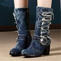 Mujeres Grueso zapatos de Tacón Alto Botines Cortos de Mezclilla de La Vendimia de Invierno de La Moda Caliente Retro Jean Caballero Botas de Combate Martin Botas Mujer