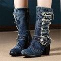 Mulheres Do Vintage Denim Botas Grossas de Salto Alto Botas Curtas Moda Inverno Quente Retro Jean Cavaleiro Botas de Combate Martin Botas Mujer