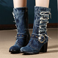 Women Vintage Denim Boots Thick High Heels Short Booties Fashion Winter Warm Retro Jean Knight Combat Martin Boots Botas Mujer