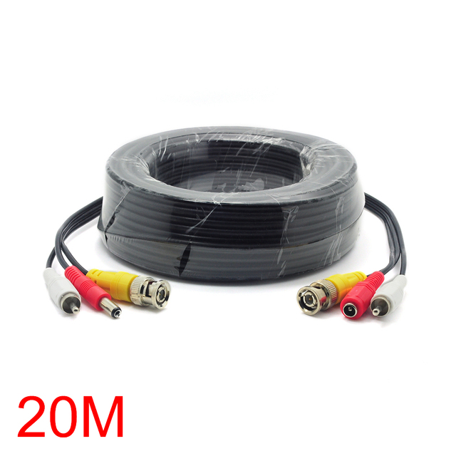 20M/65FT BNC RCA DC Connector Video Audio Power Wire Cable For CCTV ...