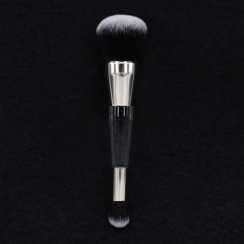 Pro Powder Foundation Crease Makeup Brush Dual-ended Wet/Dry Complexion Perfection Brush Cosmetics Beauty Tool stylish peach shape multifunction dual use dry and wet powder puff brush
