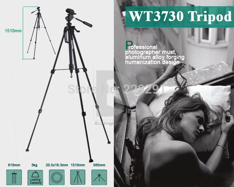 Free shipping WT3730 Alloy Aluminium portable  travel Camera Tripod photo dslr digital video mini professional universal