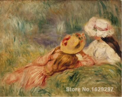 Oil Paintings by Pierre Auguste Renoir Young Girls by the Water C Hand painted Art Reproduction High qualityOil Paintings by Pierre Auguste Renoir Young Girls by the Water C Hand painted Art Reproduction High quality