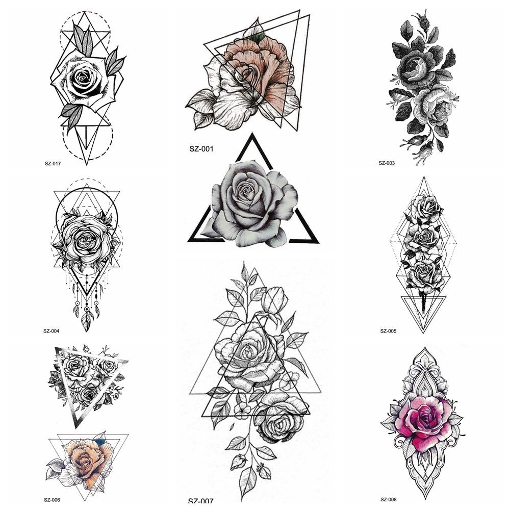 Geometric Flower Tattoo: Black Tattoo Stickers Pencil Sketch Temporary Tattoo Women