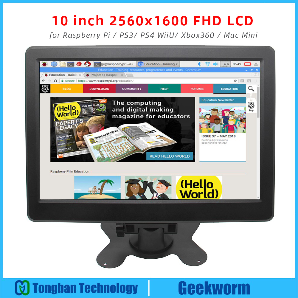 10 inch 2560x1600 Pixel FHD Monitor LCD IPS Wide Angle Display Screen for Raspberry Pi 3