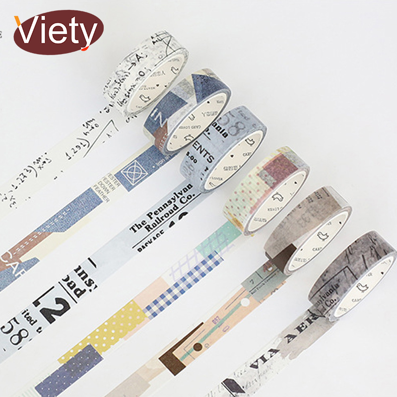 1.5cm*7m Fabric collage Old ticket washi tape DIY decorative scrapbooking planner masking adhesive tape label sticker stationery ezone 1pc kawaii watercolor sakura petal washi tape diy decorative scrapbooking sticker planner masking adhesive tape stationery