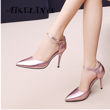 AIKELINYU 2019 Summer Fashion Pointed Toe Sandals Sexy Thin Heels Silver Pink Party Shoes Elegant Genuine Leather Woman