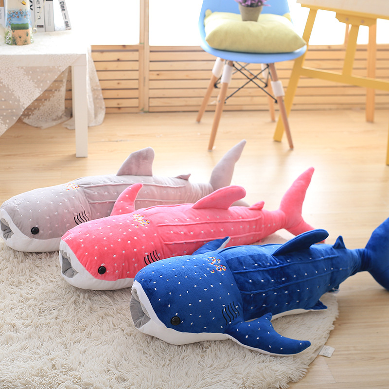 New Cute Large 1pcs 100cm Whale Shark Plush Toy Cartoon Doll Soft Stuffed Animals Cushion Child Pillow 3 Colors Kids Toy Gifts one piece huge plush simulation black killer whale toy new whale pillow doll gift about 120cm