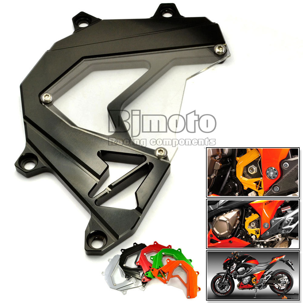BJMOTO Motorcycle Scooter Front Sprocket Cover Panel Left Engine Guard Chain Cover Protection Black For Kawasaki Z800 2013-2016 bjmoto for yamaha mt07 2013 2014 2015 2016 fz07 2015 2016 red cnc front sprocket guard chain cover left side engine