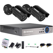 DEFEWAY HD 720P 4 Channel CCTV System Video Surveillance DVR KIT 2PCS 1200TVL Home Security Sets With Emergency Battery New Item