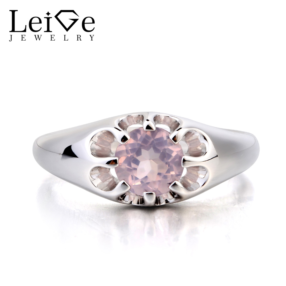 Leige Jewelry Wedding Ring Real Natural Pink Quartz Ring Pink Gemstone 925 Sterling Silver Lovely Flower Shape Ring for GirlsLeige Jewelry Wedding Ring Real Natural Pink Quartz Ring Pink Gemstone 925 Sterling Silver Lovely Flower Shape Ring for Girls