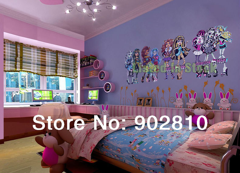 listed in stock  210x85cm 82 7x33 5in  Monster High Children Room Wall  Stickers Self adhesive Wallpaper Home Decoration BD1111  in Wall Stickers  from Home. listed in stock  210x85cm 82 7x33 5in  Monster High Children Room