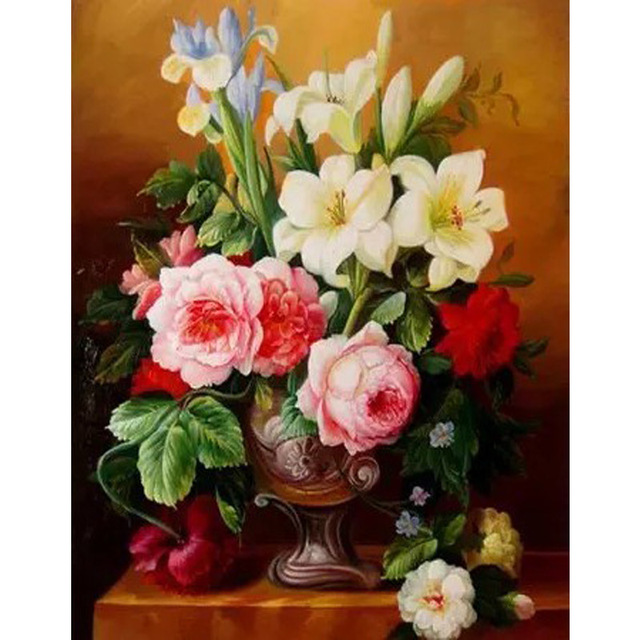 Frameless Flower Vase Picture On Wall Acrylic Oil Painting By