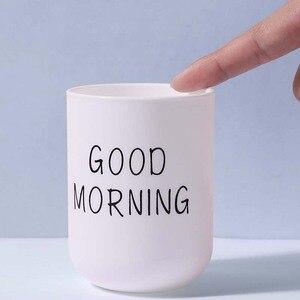Image 5 - פשוט נורדי פלסטיק מחזיק מברשת שיניים נסיעות נייד כביסה כוס בוקר טובה שן מברשת אחסון ארגונית כוס אמבטיה סטים