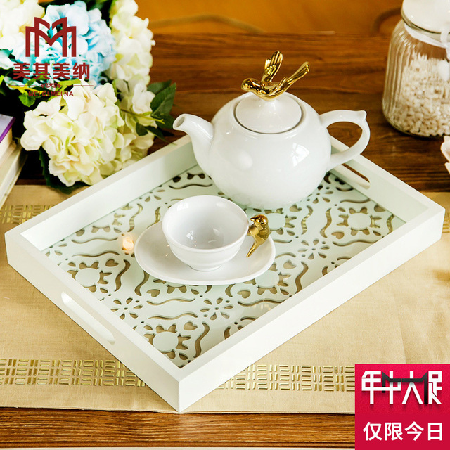 European Modern Minimalist Boutique Fruit Plate Decorative Household Furnishings Creative Wooden Coffee Table Tray