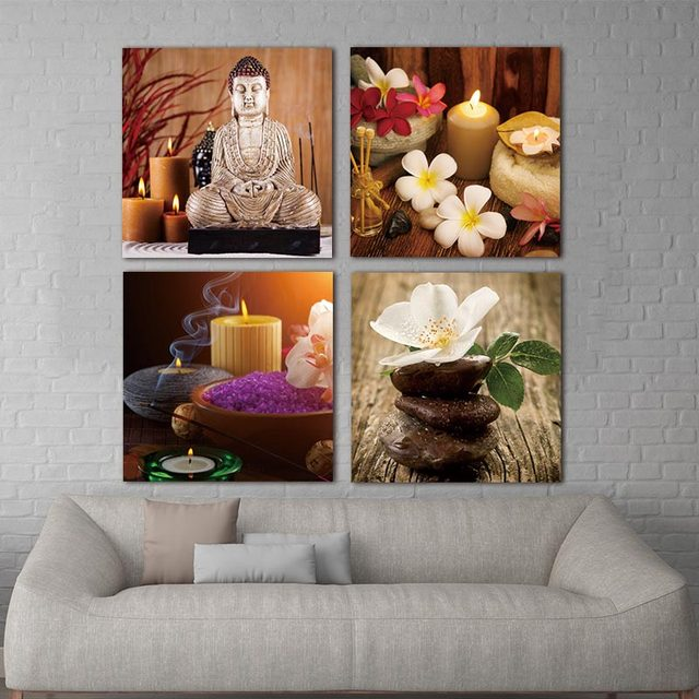 Wall Canvas Paintings Pictures For Living Room 4 Piece Art Modern Printed  Buddha Painting Picture