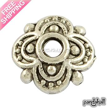 4-Petal Tibetan Style Alloy Flower Bead Caps,  Nickel Free & Lead Free, Antique Silver Color, 8x8x2mm, Hole: 2mm