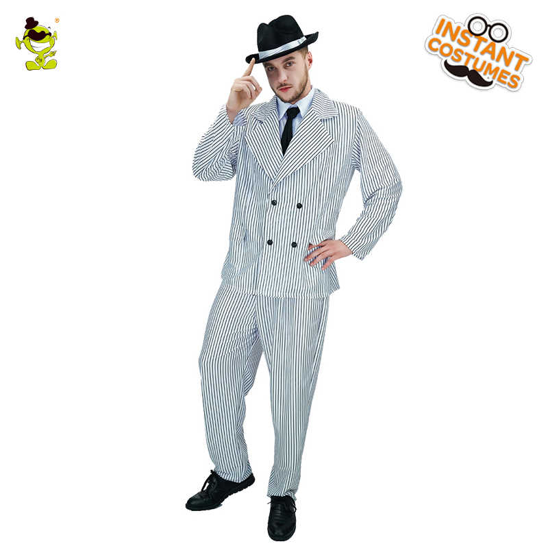 ca4494e3ff92 Cool Gangster Role Play Fancy Dress Gangster Black and white stripes gangsters  Costume Halloween Carnival Party. Adult Mens 1920's Al Capone ...