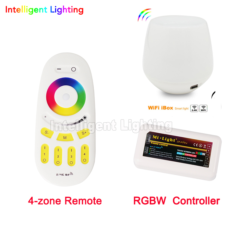 1x RGBW LED Controller + WiFi controller + RF Remote 2.4G 4-Zone Wireless Touch Screen For 5050 3528 RGBW Led Strip Light milight remote wifi 4x rgbw led controller group control 2 4g 4 zone wireless rf touch for 5050 3528 rgbw led strip light
