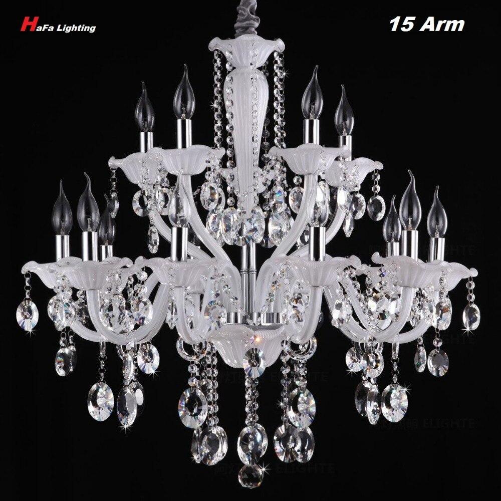 Styl branco Candelabro de Cristal da lâmpada sala de estar de Luxo Grande Lustre de cristal de luz da escada lâmpada luz de velas romântico