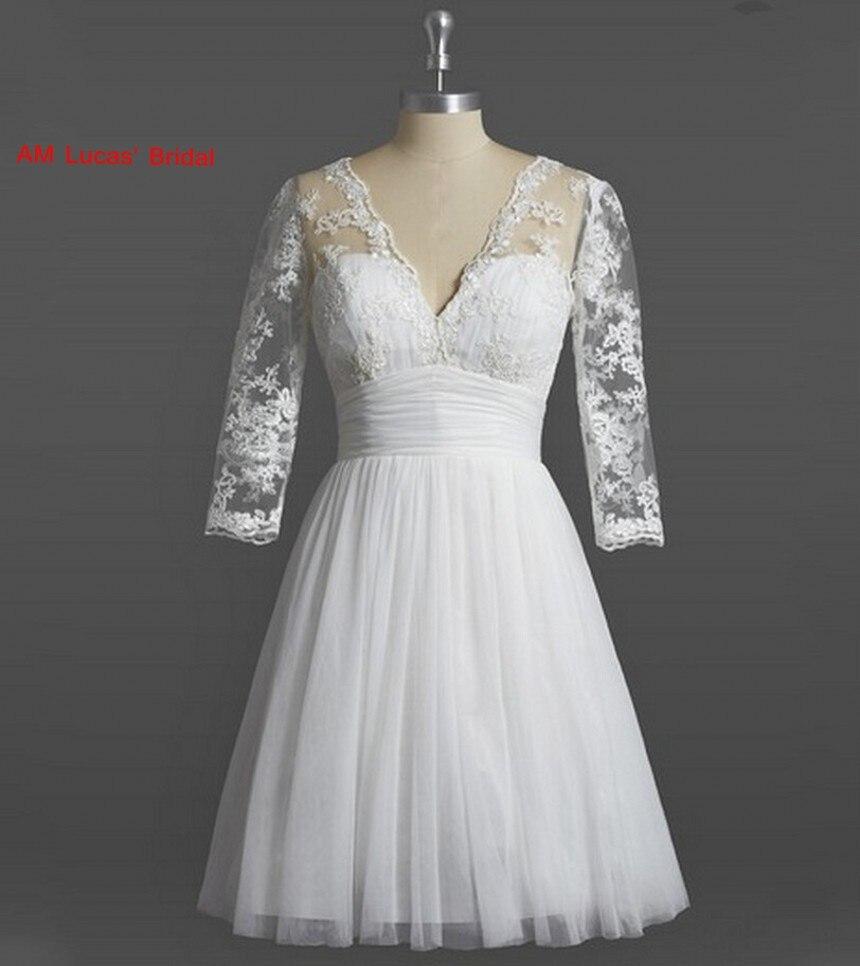 Short A Line Wedding Dresses Knee Length Long Sleeve