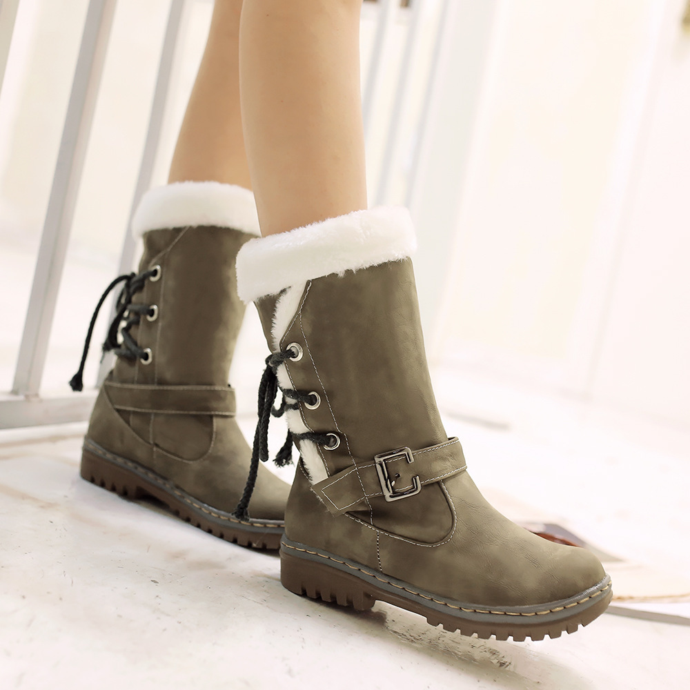 Winter Women Snow Boots Warm Plush Shoes Cross-tied Mid-Calf Flat Platform Boots Female Buckle Fashion Plus Size Shoes ABT1077 2016 new warm snow boots women plush winter mid calf boots fashion wedding shoes brand lady botas flat shoes