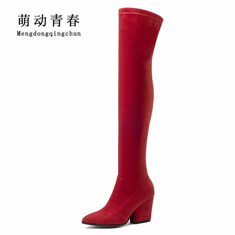Здесь можно купить  2018 Women Autumn Winter Boots Fashion Flock Round Toe Hoof Heel High Heels Boots Women Slip-on Over the Knee Sexy Ladies Boots  Обувь