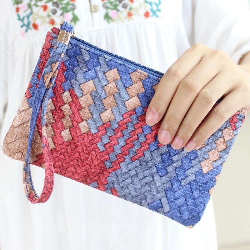 2017 New Brand Fashion Women Knitting pattern Handbag Clutch Zip Purse Coin M...