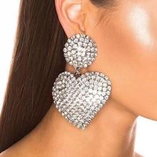 Fashion Rhinestone Crystal Statement Earrings Gold silver color Big Heart Pendant Dangle Drop Earrings For Women Jewelry gift цена