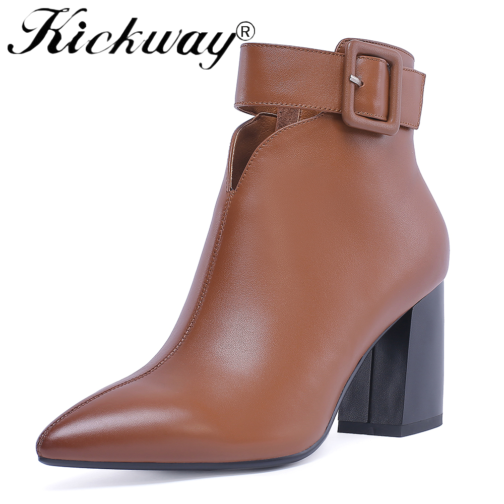 Kickway 2018 Hot sale womens boots Genuine Leather high heels shoes woman ankle boots zip platform shoes autumn boots female запонки черепашка churchill accessories запонки черепашка