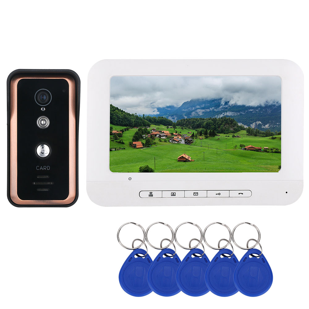7 Inch Color LCD Monitor Video Intercom Door Phone Doorbell System With RFID Card Reader HD 1000TVL IR-CUT Camera