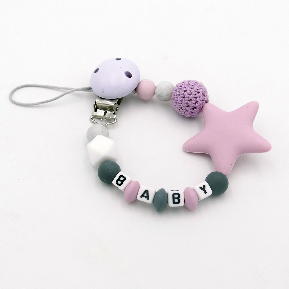 Free Personalized Name Silicone Pacifier Chain Baby Teething Silicone Teether Pacifier Clip Chupetero Teether