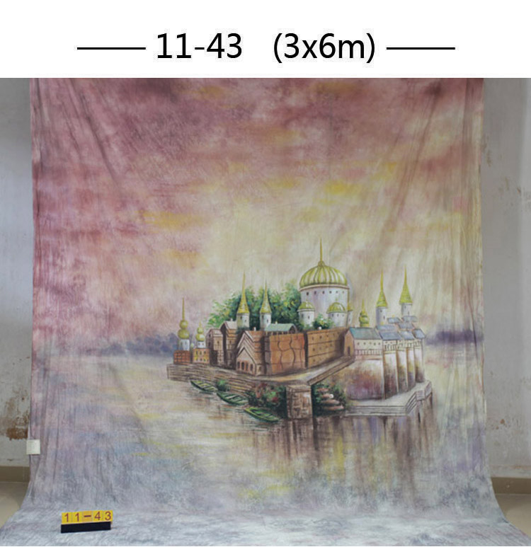 Professional customized 3x 6M Hand Painted muslin scenic castle backdrop ,100%cotton photography backgrounds for photo studio