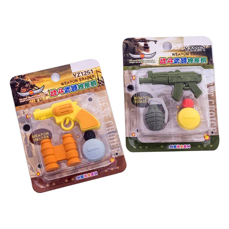 3pcs/set Creative Weapons Pistol Shape Pencil Rubber Eraser Correction Kawaii Stationery School Supplies Kids Gifts