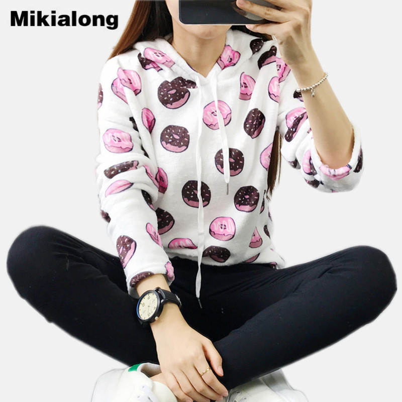 Mikialong Womens Hoodies 2017 Harajuku Donuts Sweatshirt Women Cute Cat Printed Winter Hooded Jumper Tracksuit Moletom Tumblr