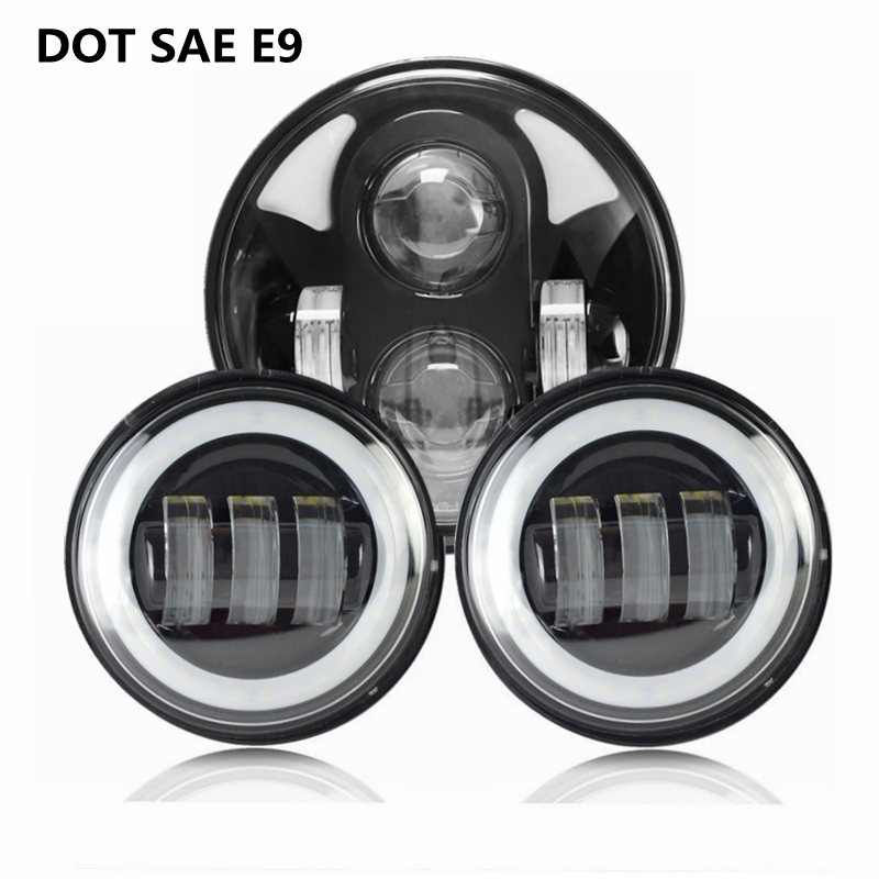 5.75 Inch 40W Round DRL LED Headlight (1PC)+ 4.5 30W White Angel Eyes DRL Led Fog Lights(2PC) Fit Harley Davidson Motorcycle