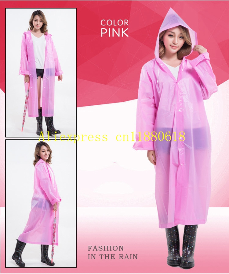 50pcs lot Fast Shipping Long Raincoat EVA Thick Rainwear Universal Rain Coat Waterproof Poncho Hiking Tour