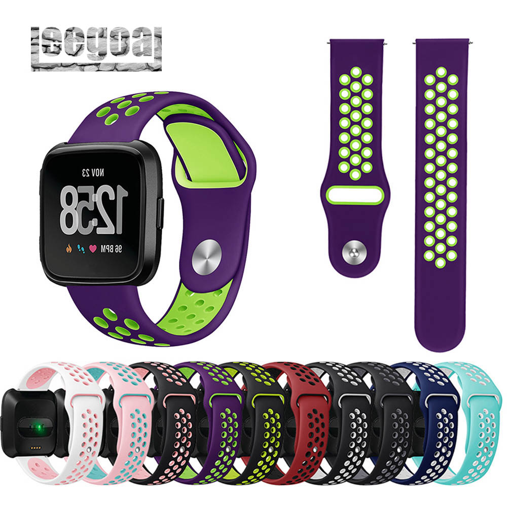 Strap Bands Silicone for Fitbit Versa Adjustable Sport Wrist Band Breathable Watch Strap with Air Holes for Fitbit Versa fitbit watch