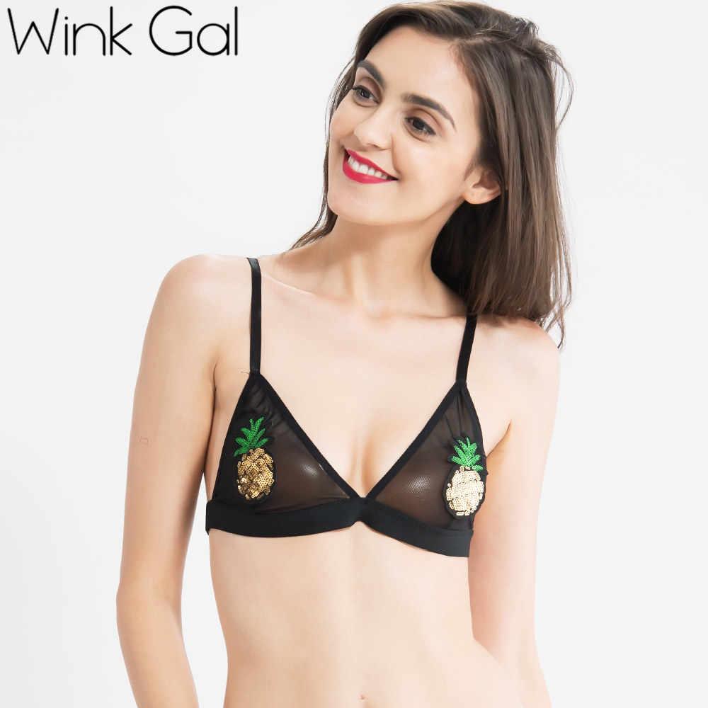 96924ccf90c55 ... 2018 New Fashion Cutie Woman Bralette Sequined Bra Transparent Plunge  Brassiere W12161 ...