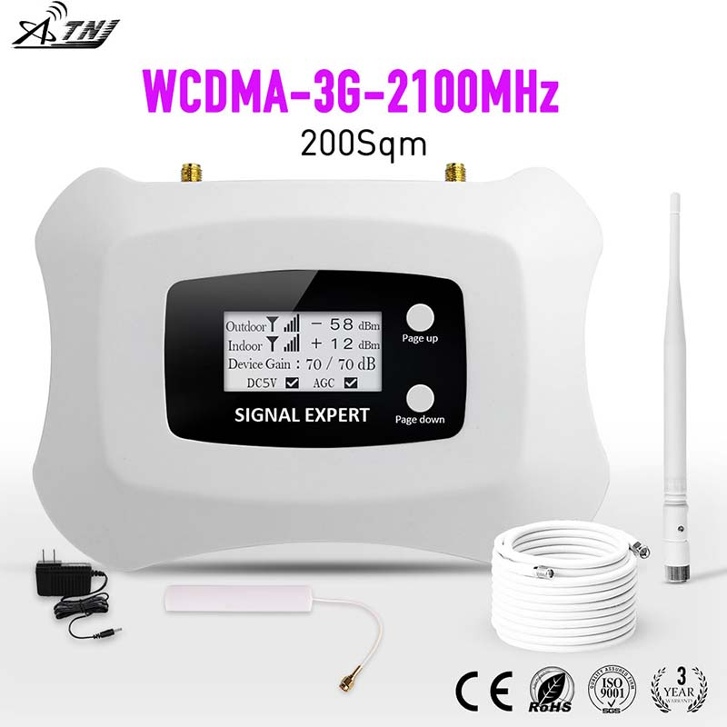 Display LCD! Mini Inteligente 2100 mhz 3g 3g móvel signal booster amplificador amplificador de sinal celular impulsionador repetidor WCDMA para 3g