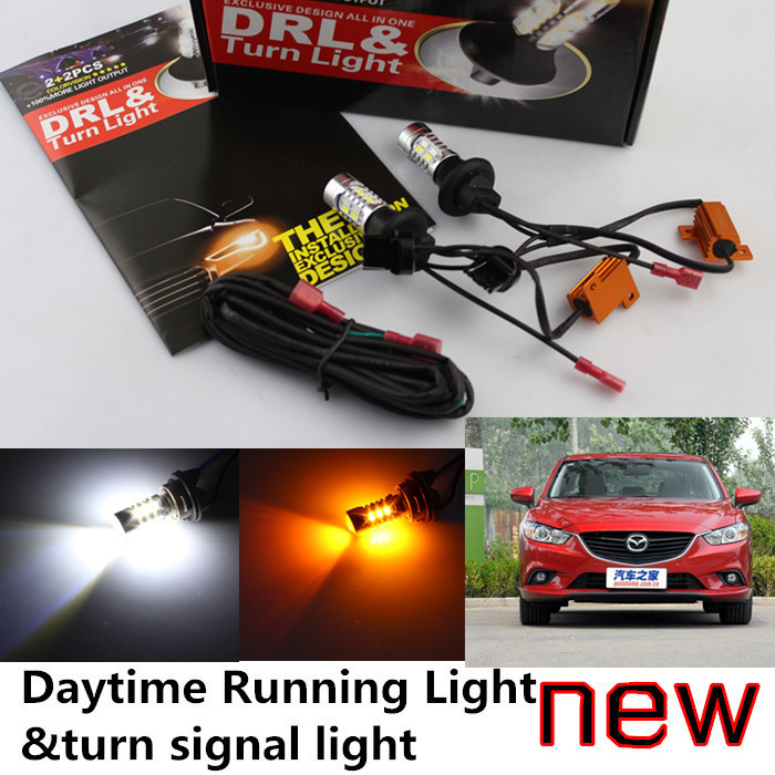 ФОТО Cheetah Free shipping  CAR-mazda 6 ATENZA LED DRL LED Daytime Running Light&turn signal light all in one 20w high power 5 colors
