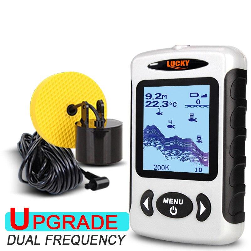 Chanceux FF718D sondeur Portable sondeur à poisson 200 KHz/83 KHz double Sonar fréquence 100 M sondeur à écho pour la pêche en russe