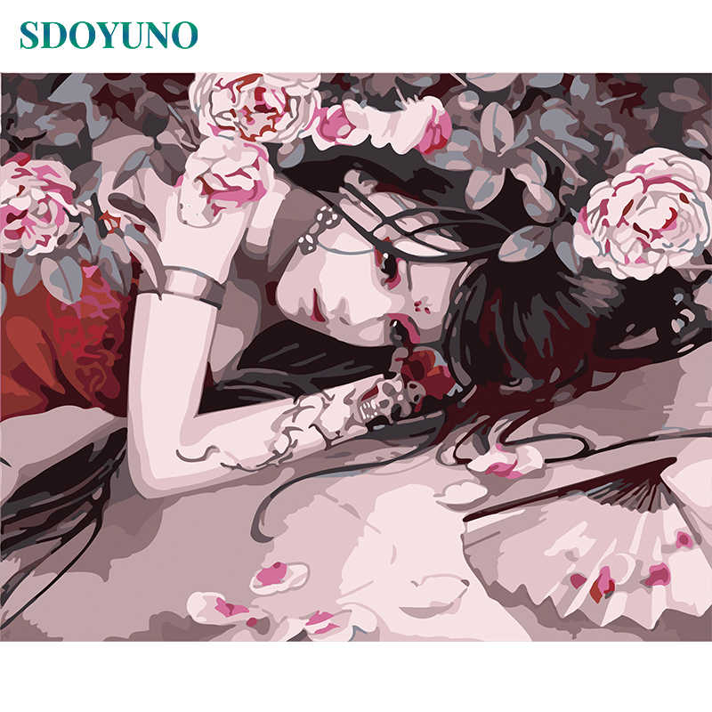 SDOYUNO Frame Anime Women DIY Painting By Number Artwork Painting & Calligraphy Acrylic Modern Wall Art Picture For Home Decor
