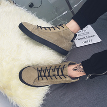 2016 Male Winter High Tops Casual Flats Letter Pattern Board Flats Shoes Fashion Lace Up Keep Warm Men Cotton Board Shoes
