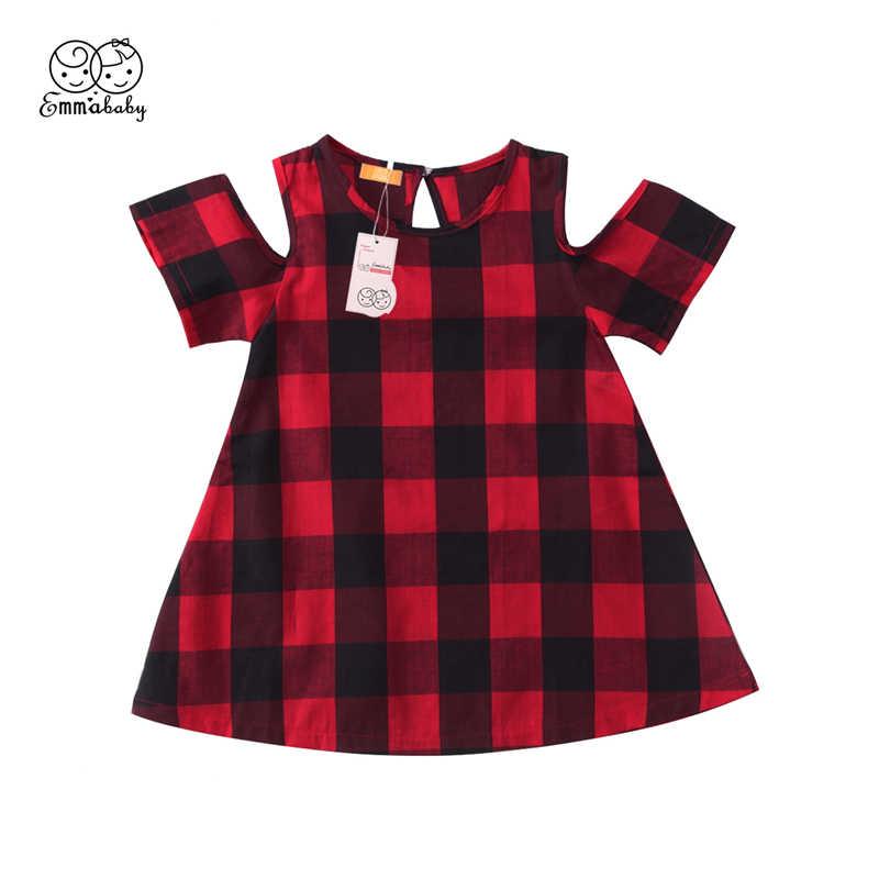 636d57097258 Emmababy 1-6Y kids baby girl red paid dress Girls Off Shoulder cotton Children  Dresses