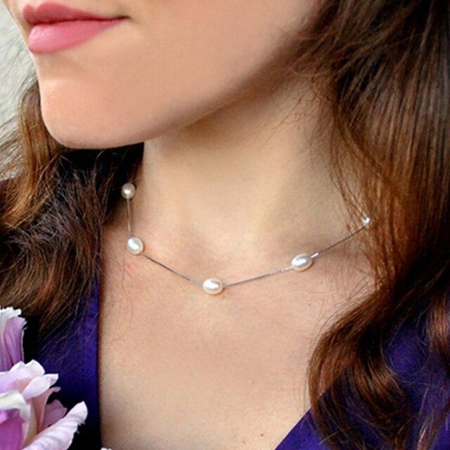 ASHIQI prawdziwe 925 Sterling srebrny naszyjnik łańcuch 6-7mm naturalna perła słodkowodna wisiorek – biżuteria dla kobiet prezent
