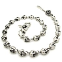 New Arrival factiry Price Punk Men's Biker Cool Skull Jean Chain accessory Costume Jewelry 316L Stainless Steel Gift