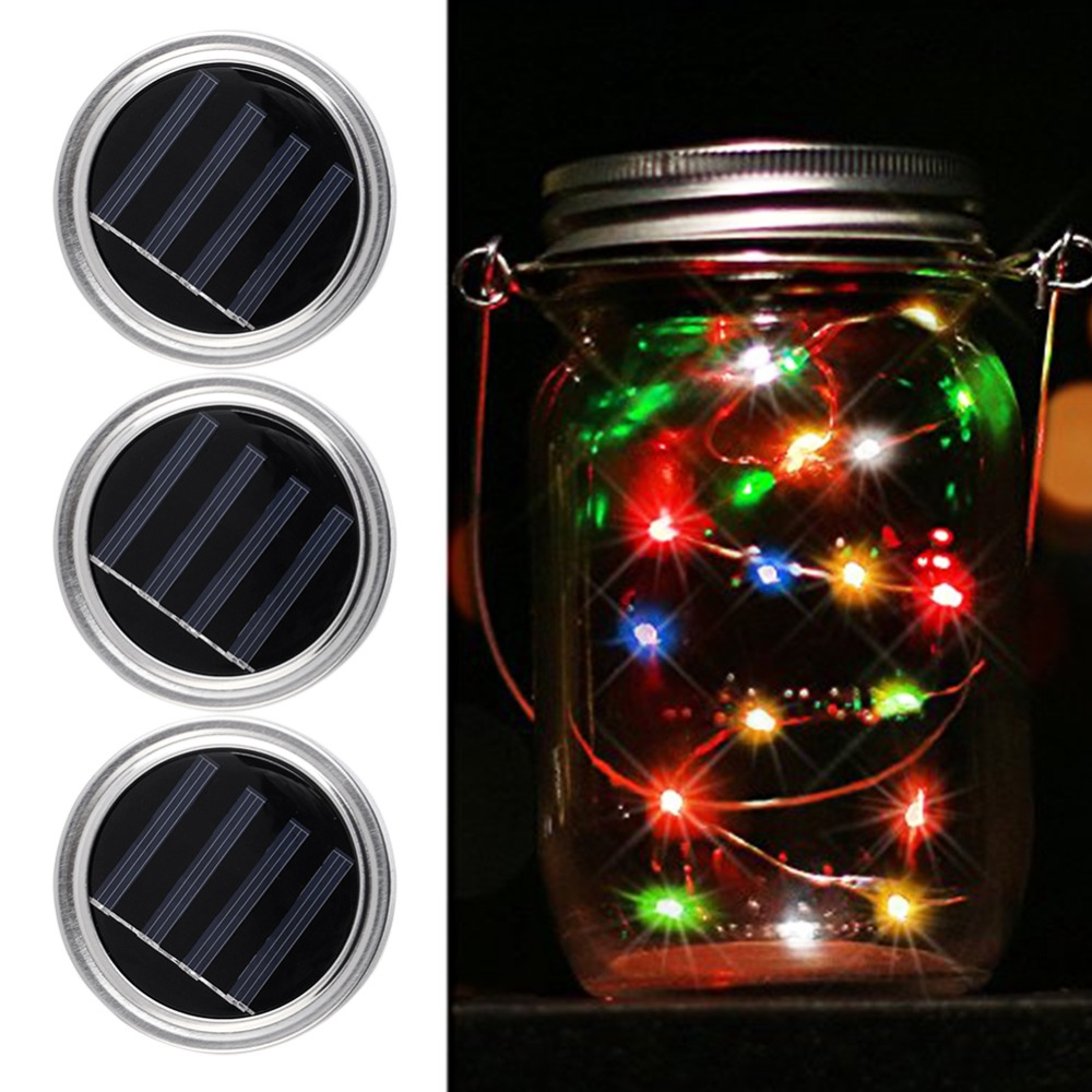 Solar Power Light 3pcs Waterproof Solar Mason Jar Lid
