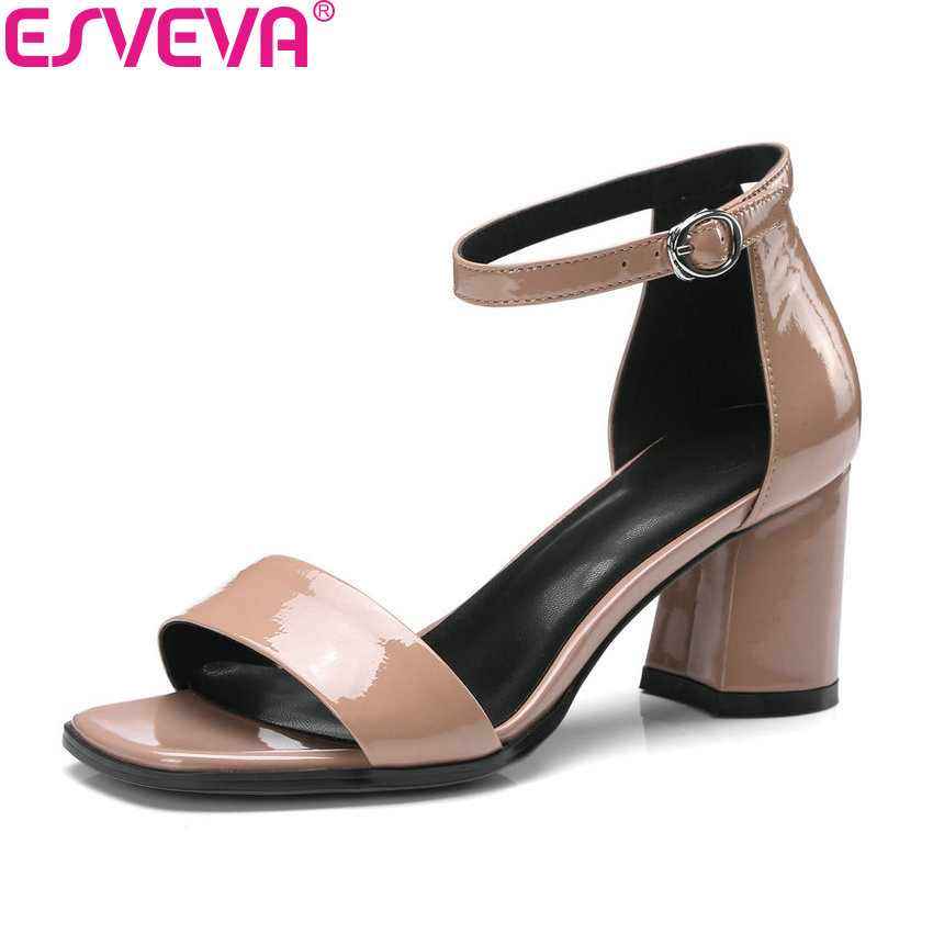 ESVEVA 2018 Women Sandals Buckle Strap PU Concise Square High Heels Summer Sandals Cow Leather Pumps Shoes Women Size 34-42 xiaying smile summer woman sandals fashion women pumps square cover heel buckle strap bling casual concise student women shoes